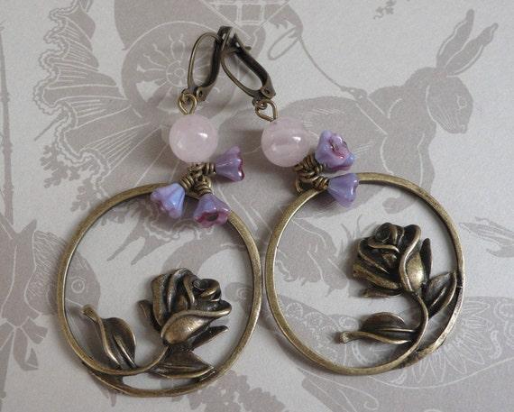 Rose Quartz and Bluebell Earrings on Brass