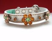 Free shipping /Genuine Leather Jewelry Dog collar/ Champagne gold leather/Swarovski