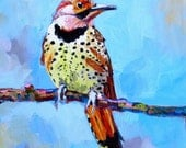 Spotted bird painting 11x14