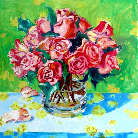 Reserved Listing for Sheryl  Roses painting 36x36
