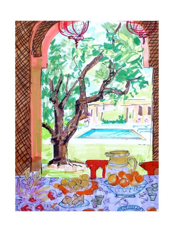 Breakfast in Marrakesh drawing, 9x12