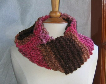 Chocolate and Rose Striped Infinity Cowl Scarf Neck Warmer