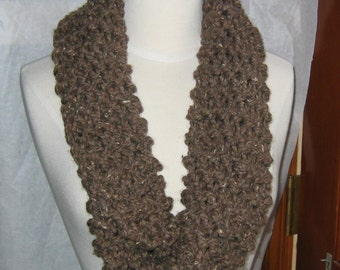 Soft and Plush Bark Brown Cowl Scarf Neck Warmer