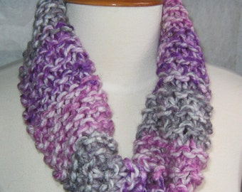 Grey Purple and Lilac Striped Cowl Scarf Neck Warmer