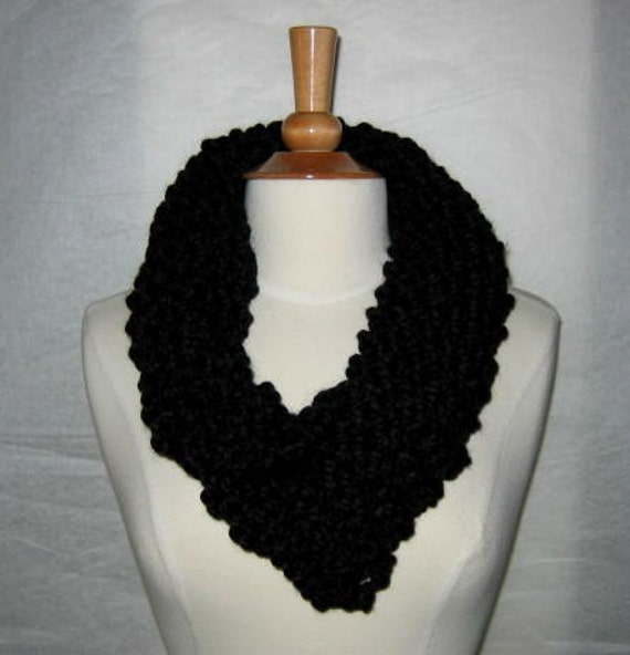 Soft and Plush Black Cowl Scarf Neck Warmer