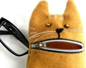 Pencil case, Eyeglass case, Ginger hungry cat, wool