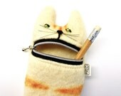 Pencil case,  Eyeglass case: Cute hungry cat pencil or eyeglass case handmade from  white wool
