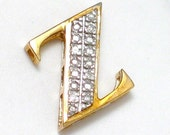 10k gold diamond letter Z initial monogram pendant