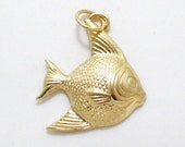 2-D 14k yellow gold nautical saltwater ocean sea / beach theme angel fish bracelet charm or necklace pendant