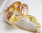 10k Tri  Gold womens rose green filigree diamond cut leaf grape vine  ring band SIZE 8