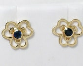 Our version of pandora posy flower 14K gold blue round cut Sapphire solitaire post / stud earrings