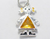 pre owned estate yellow topaz crystal / cz birthstone girl 925 sterling silver bracelet charm or pendant