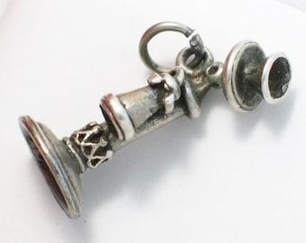 3d silver telephone phone charm pendant 4 necklace bracelet designer Beau sterling silver cell phone fine vintage jewelry