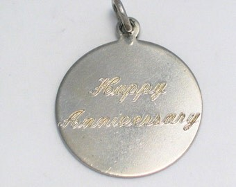4/ 30/ 1969 happy anniversary charm pendant 4 bracelet or necklace round disc solid sterling silver vintage fine jewelry