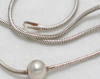 Pre owned vintage estate Italian 925 sterling silver bead ball spaced w/  snake type link chain necklace 18 inch