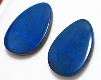gemstone loose opal doublets Deep Ocean blue matched pair of  12.18CTTW. for gold or sterling rings pendants or bracelet