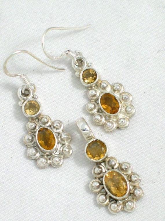 Golden citrine pendant earrings set beaded pattern sterling silver
