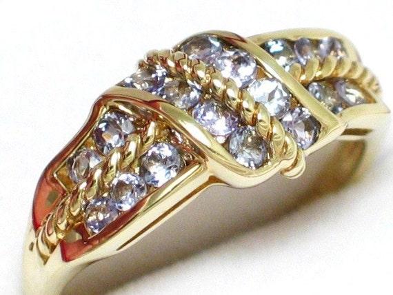 sz 10 14k gold round light lavender / purple tanzanite gemstone ring band rope style setting