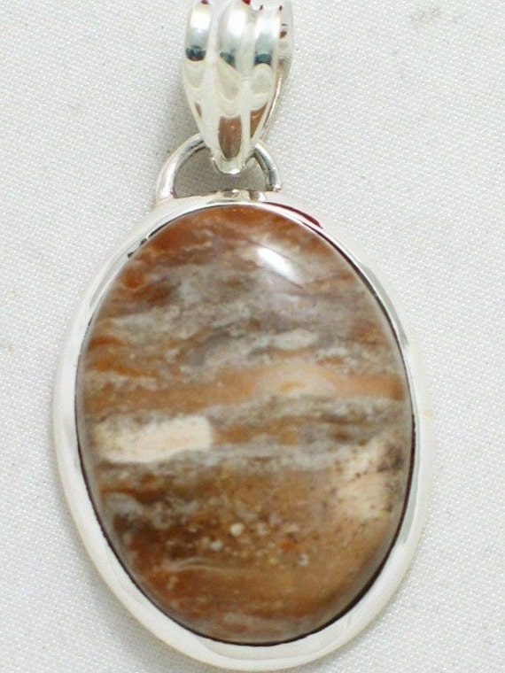 Tans browns agate cabochon slide pendant in sterling silver 925