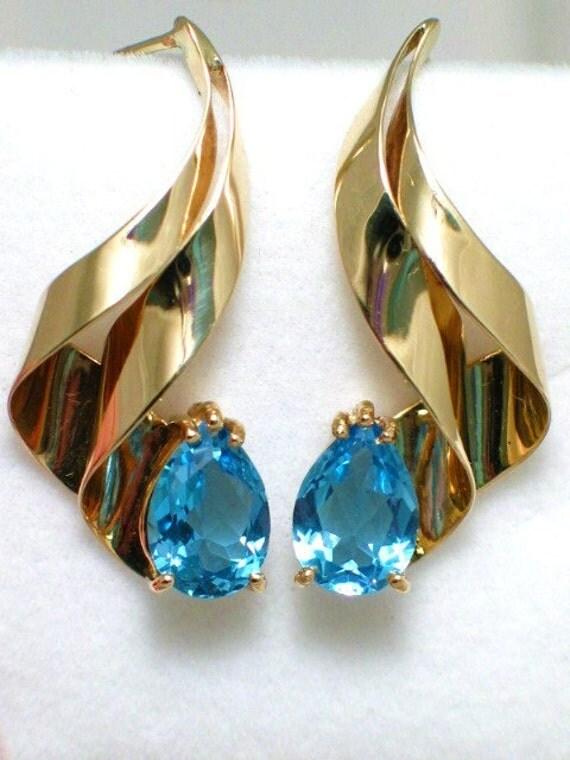 Vintage Estate Pre-Owned 14K YELLOW GOLD free form ribbon design pear cut blue topaz dangle post earrings