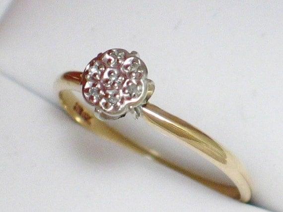 Illusion cluster setting diamond ring band 10k yellow / white gold sz size 6 3/4 or 6.75