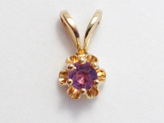 The daintiest 14kt  gold nantural amethyst gemstone tulip setting solitaire pendant