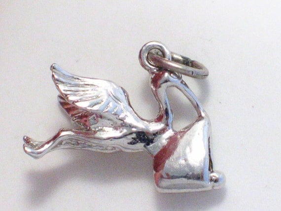 pre owned vintage estate 3-D stork bird and baby new born birthday theme 925 sterling silver bracelet charm or pendant