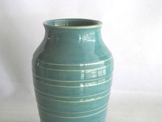 Handmade Stoneware Turquoise Vase