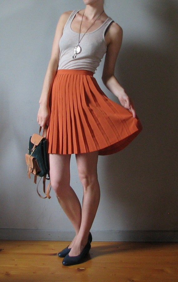 vintage pleated mini skirt in orange 80s by karalaite on etsy