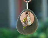 Lake Superior Stone Necklace with Copper, Crystals and Silver Charm