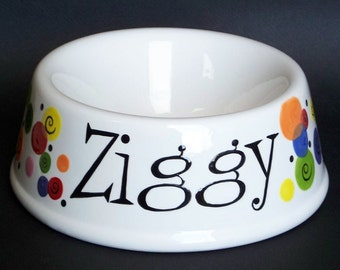 Hand Painted PERSONALIZED Dots Ceramic Dog Bowl
