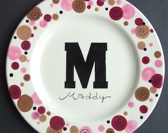 Personalized Initial DOTS Plate   Hand Painted