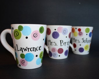 Hand Painted PERSONALIZED Dots Mug    Teacher Gift