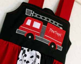 Custom Made Fire Truck Fire Man Knot Dress in Any size 6 months to 7/8