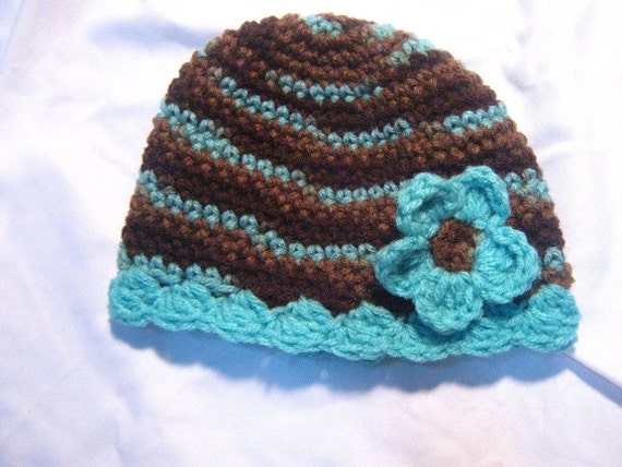 Baby Hat With Flower Cap 0-4 months Browns and Blues