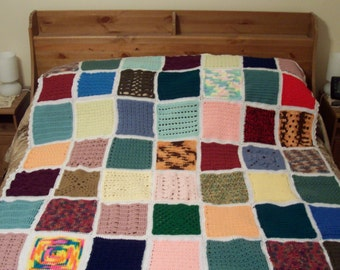Crochet Afghan Sampler stitches multi colored  Free Shipping