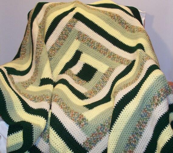 Crochet Afghan Log Cabin green white yellow green variegated