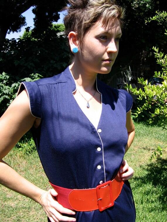 Vintage Pin Up Dress-- 70s Navy Blue Indie Wiggle Pencil Secretary M L