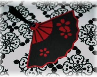 Deep Red and Black Fan Tags