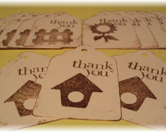 15 Hand stamped THANK YOU tags
