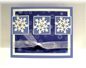 Snowflake wishes winter white and blue Holiday GREETING CARD Blank 5x6 with envelope
