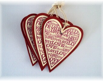 LOVE double layered cream and red heart shaped Gift TAGS set of 6