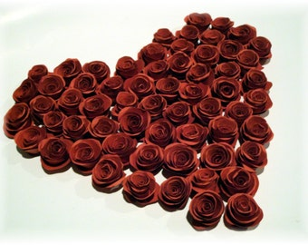 Wedding RED Paper Roses Collection embellishments for crafts, scrapbooking, cardmaking, ACEOs, ATCs, collage, altered art. PAPER FLOWERS