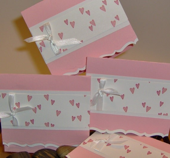 4 Pink and White Hearts and Ribbon Greeting Cards blank inside