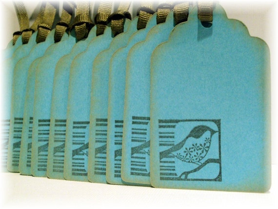 Turquoise and Brown Song Bird TAGS