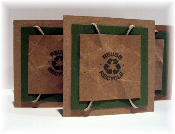 Eco Friendly mini NOTE CARDS with 100 percent real hemp rope includes matching envelopes set of 6