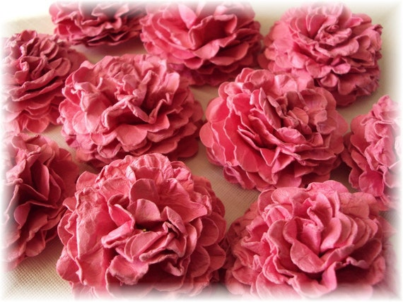 Fuschia Carnations Paper flowers embellishments for crafts, scrapbooking, cardmaking, ACEOs, ATCs, collage, altered art. PAPER FLOWERS