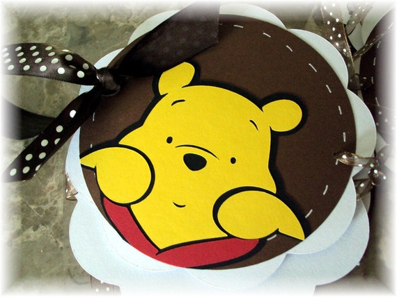 Peek A Boo Pooh Bear IT'S A BOY Baby Shower Banner
