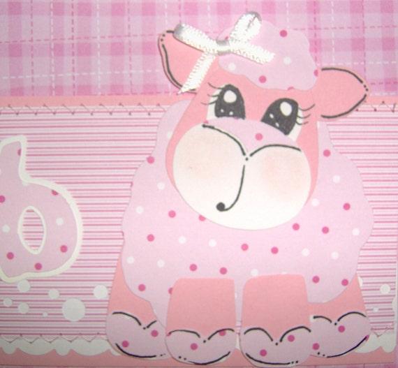 1.00 SHIPPING US--Sweet Lil' Lamb Pink Girl Premade SEWN BORDER Scrapbooking Paper Piecing