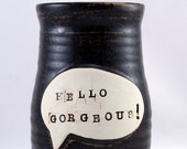 Hello Gorgeous - One Handmade Porcelain Travel Mug-  18 oz. - Ready to Ship